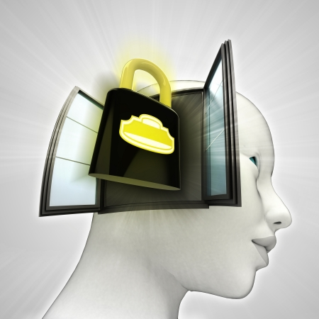 closed security padlock coming out or in human head through window concept illustration illustration