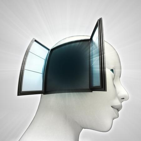 human head model with open window on side idea concept illustration illustration