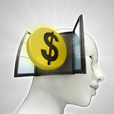 Dollar coin investment coming out or in human head through window concept illustration Stock Photo