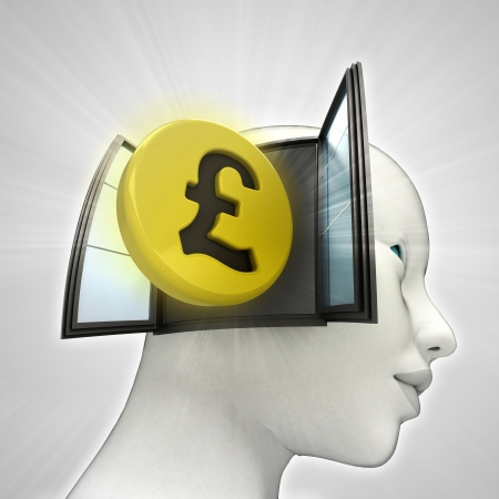 Pound coin investment coming out or in human head through window concept illustration illustration