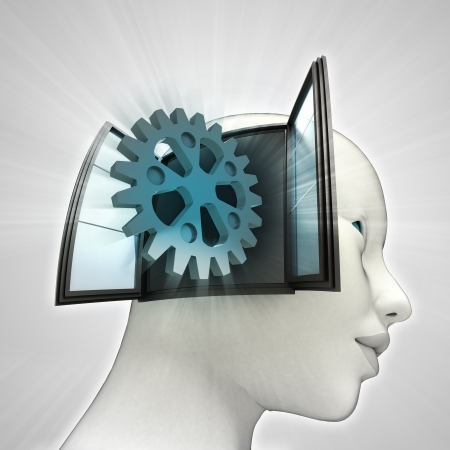 industrial cogwheel  part coming out or in human head through window concept illustration illustration