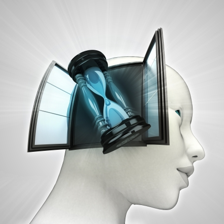 time counter coming out or in human head through window concept illustration Stock Illustration - 22908276