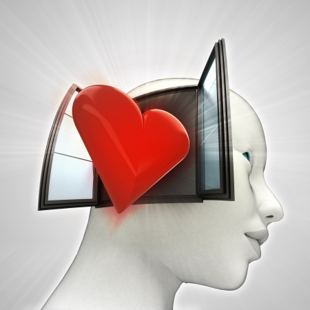 love coming out or in human head through window concept illustration Stock Photo