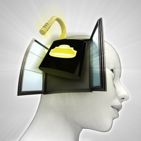 open security padlock coming out or in human head through window concept illustration illustration