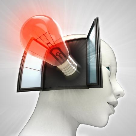 輝く電球の発明またはウィンドウの概念図を人間の頭の中を来て赤 写真素材