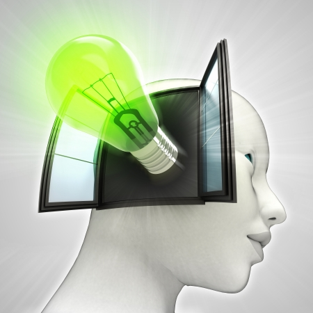 green shining bulb invention coming out or in human head through window concept illustration illustration