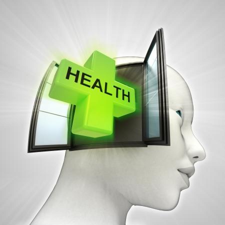 医療またはウィンドウの概念図を人間の頭の中に来る