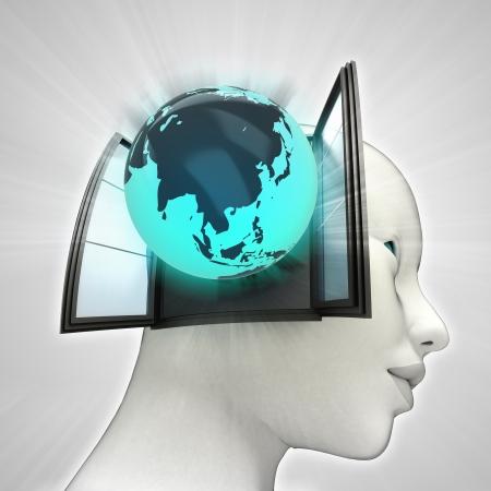 またはウィンドウの概念図を人間の頭の中を来てアジア グローブ 写真素材