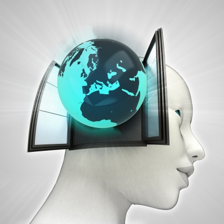 またはウィンドウの概念図を人間の頭の中を来ているヨーロッパ世界