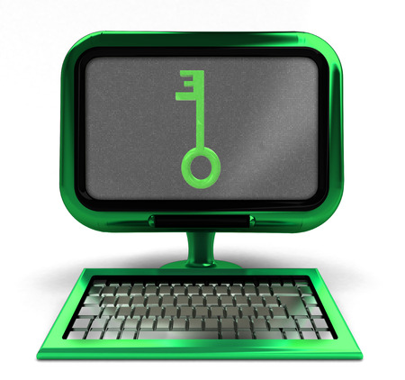 green computer with key to knowledge on screen concept isolated illustration illustration