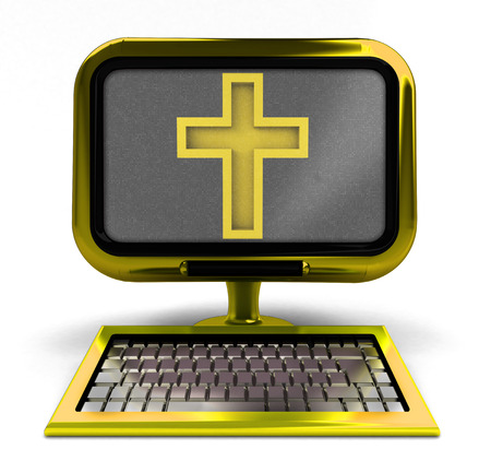 godness: golden computer with holy cross on screen concept isolated illustration