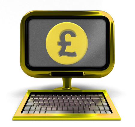 golden computer with Pound coin on screen concept isolated illustration illustration