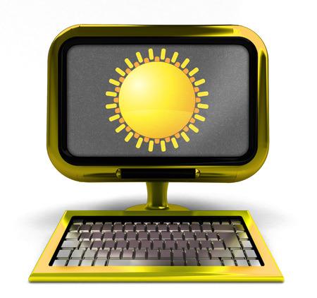 metallic  sun: golden metallic computer with summer sun on screen concept isolated illustration