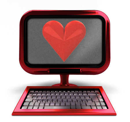 red metallic computer with love symbol on screen concept isolated illustration illustration