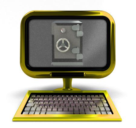 antiviral: golden metallic computer with antiviral vault on screen isolated illustration Stock Photo