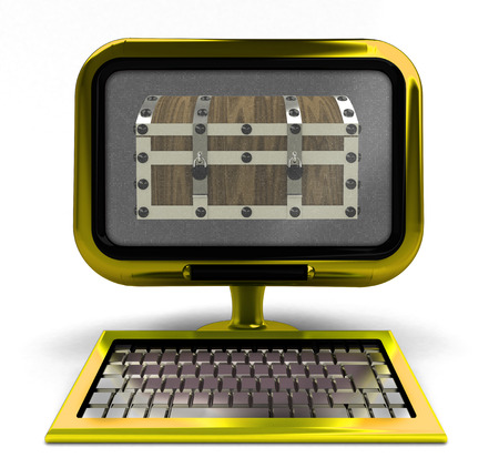 antiviral: golden metallic computer with antiviral chest on screen isolated illustration