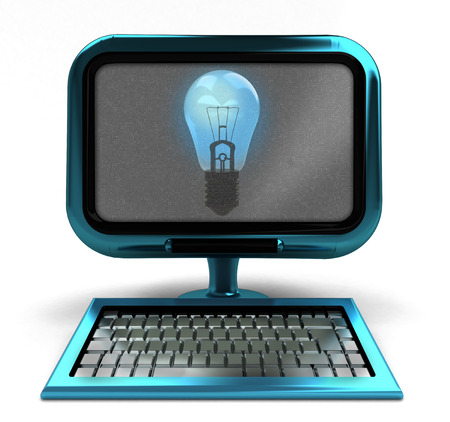 blue metallic computer with shiny bulb on screen isolated illustration illustration