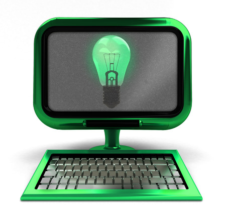 green metallic computer with shiny bulb on screen isolated illustration illustration