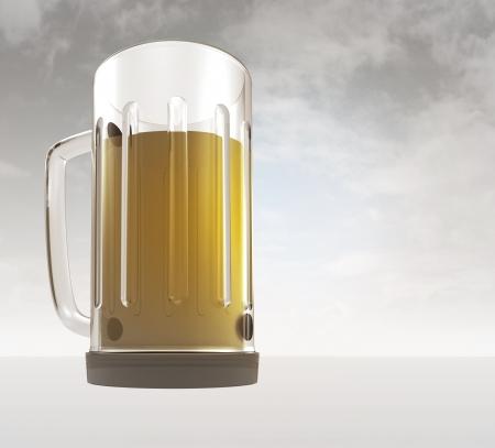 bier: full glass of tasty czech bier with sky background render illustration Stock Photo