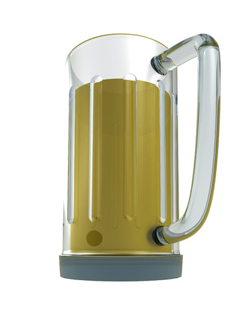 bier: isolated full glass of alcoholic bier render illustration