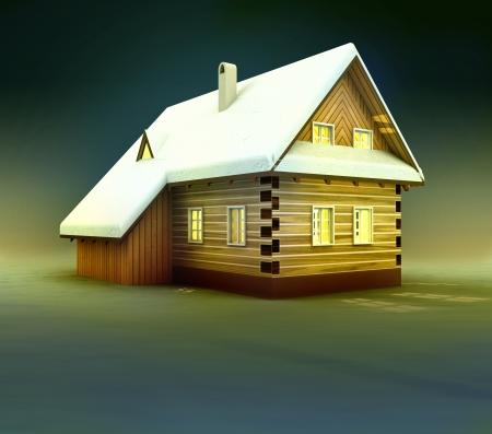 alighted: Old mountain cottage window lighting at night illustration