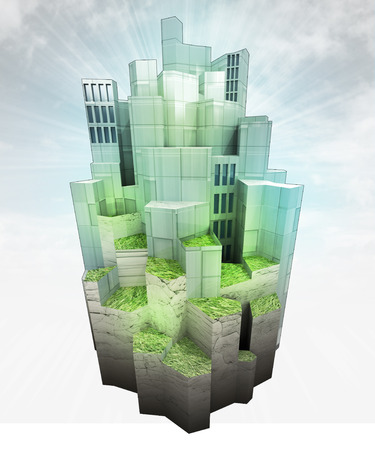 modern ecological city on hill with sky flare render illustration  illustration