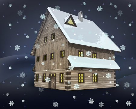 rustic winter wooden high cottage house at night snowfall vector illustration Vector