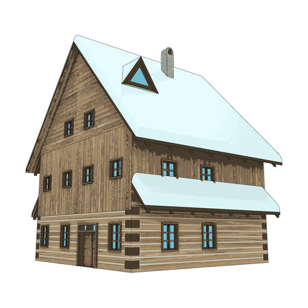 isolated rustic winter wooden high cottage house vector illustration Illustration