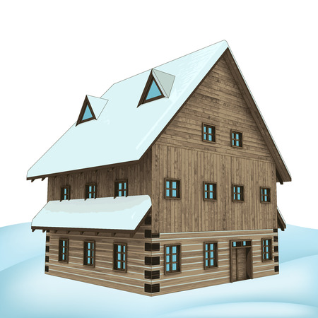 rural winter wooden high cottage perspective vector illustration Vector