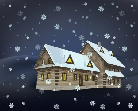 rural winter wooden cottage mansion perspective at night snowfall vector illustration Vector