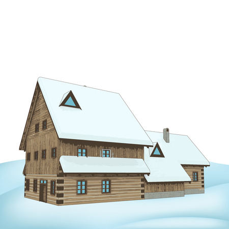 big rural winter wooden cottage mansion vector illustration Vector