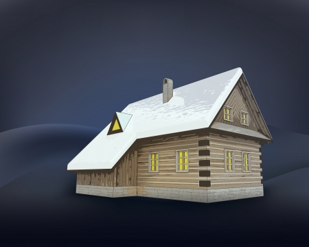small rural winter wooden cottage at night vector illustration Vector