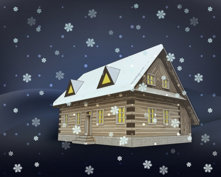 classical winter wooden cottage at night snowfall vector illustration Vector