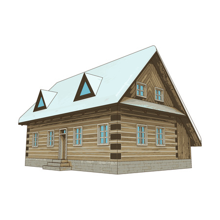 isolated classical winter wooden cottage vector illustration Illustration
