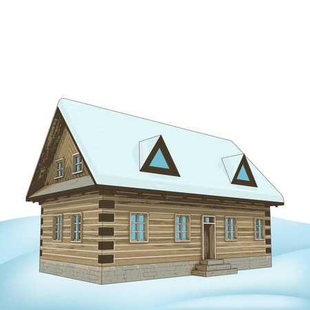 simply winter wooden cottage vector illustration Illustration