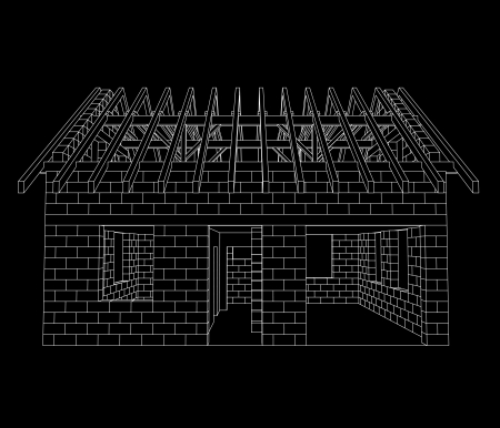 front house: front house construction line drawing on black vector illustration