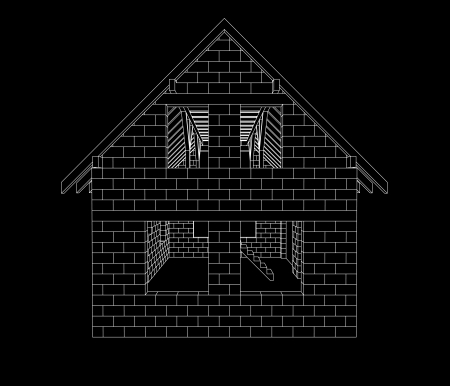 rafter: gable house construction line drawing on black vector illustration