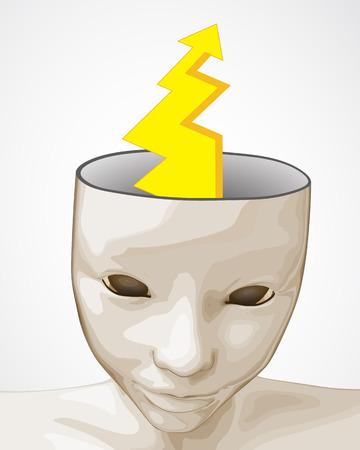 abrir la mente humana con la lluvia de ideas ilustración de perno huelga vector