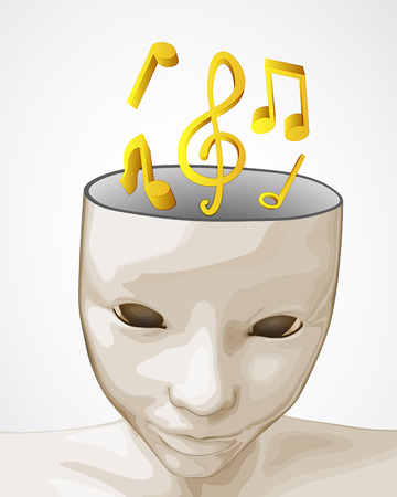 open human mind to party music sound vector illustration Vector