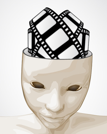 open human mind to cinematography ideas and fun illustration Vector