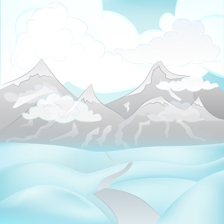 square winter mountain landscape view with road across snowy hills vector illustration Vector