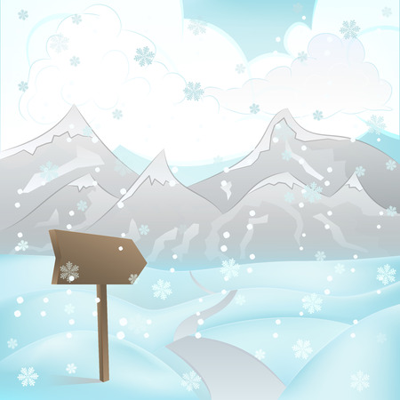 square winter mountain landscape view with road and pointer at snowfall vector illustration Vector