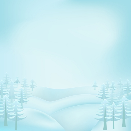 conifer: square winter landscape view with snowy hills and conifer trees vector illustration Illustration