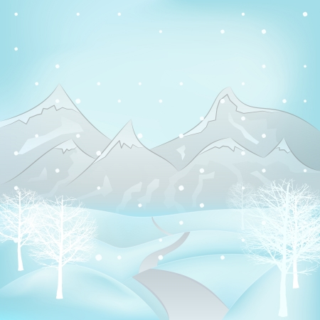 broad leaf: square winter mountain landscape view with broad leaf trees around road vector illustration Illustration