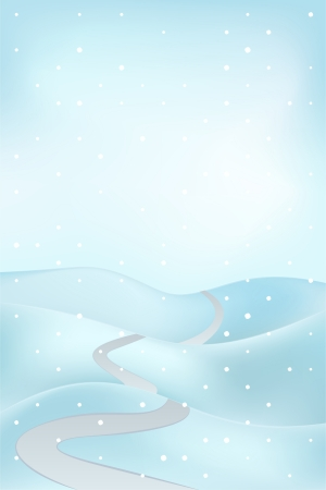 high road: high winter landscape scene with road at snowfall vector illustration Illustration