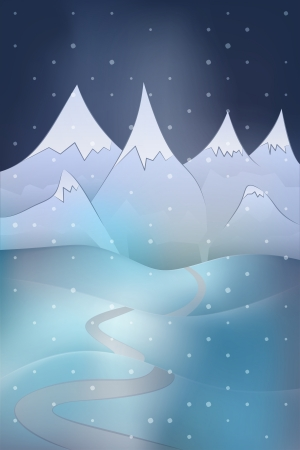 high winter mountain landscape scene with snowy hills at night snowfall vector illustration Vector