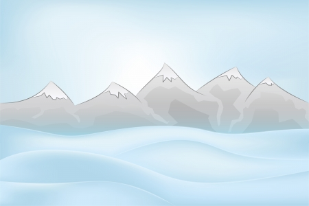 calm winter mountain outdoors with snowy hills vector illustration Vector