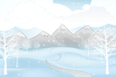 broad leaf: winter mountain outdoors with road and broad leaf trees vector illustration