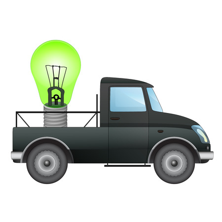 isolated pick up car transporter of your ecological business vector drawing illustration Vector