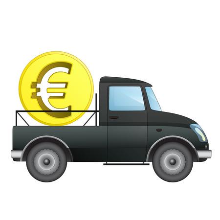 pick money: aislado recoger coche como dinero Euro transportador de negocios de dibujo vectorial ilustraci�n